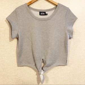 NATURALLY JOJO Gray Silver Sparkle Crop Tie shirt